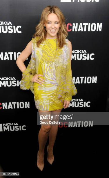 Singer Kylie Minogue arrives at Roc Nation PreGRAMMY brunch at Soho House on February 9 2013 in West Hollywood California