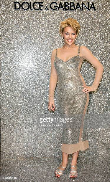 Singer Kylie Minogue arrives at the Dolce & Gabbana Party held at the Baoli Restaurant during the 60th International Cannes Film Festival on May 25,...