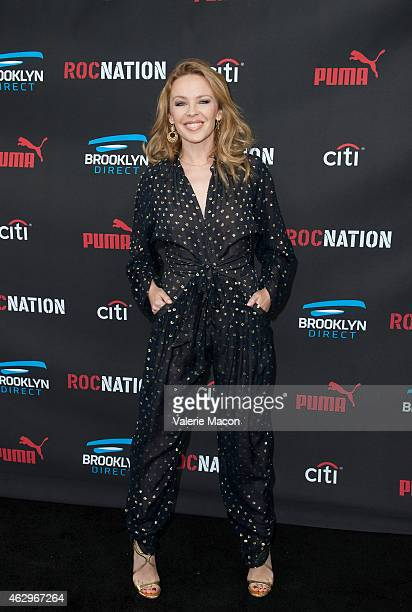 Singer Kylie Minogue arrives at the Roc Nation Pre-GRAMMY Brunch on February 7, 2015 in Beverly Hills, California.