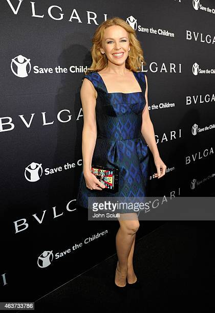 Singer Kylie Minogue attends BVLGARI and Save The Children STOP THINK GIVE PreOscar Event at Spago on February 17 2015 in Beverly Hills California