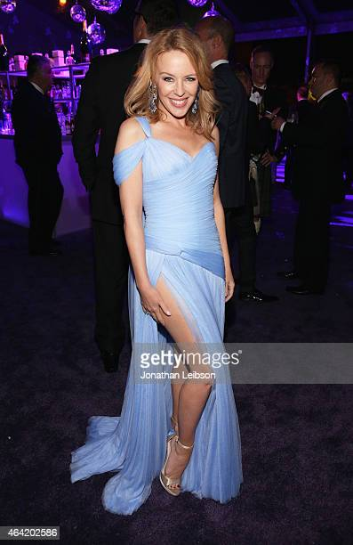 Singer Kylie Minogue attends ROCA PATRON TEQUILA at the 23rd Annual Elton John AIDS Foundation Academy Awards Viewing Party on February 22 2015 in...