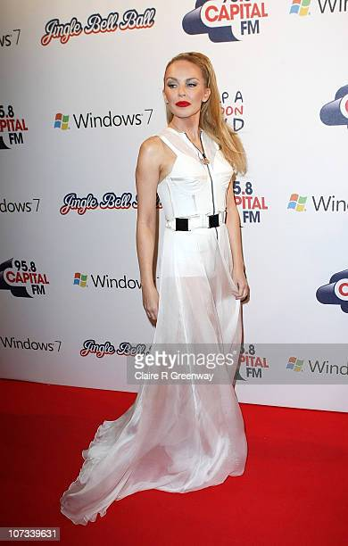 Singer Kylie Minogue attends the 958 Capital FM Jingle Bell Ball in association with Windows 7 at the O2 Arena on December 5 2010 in London England