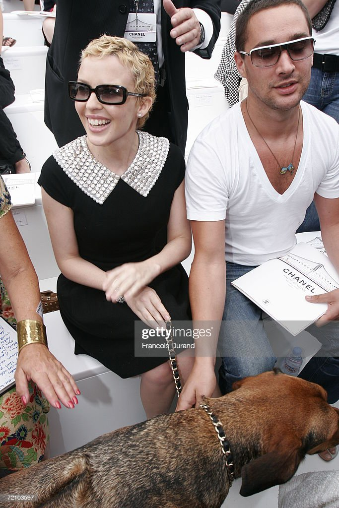 Singer Kylie Minogue attends the Chanel Haute Couture Fall-Winter 2006/07 Fashion show during Paris Fashion Week at Pelouse de St Cloud on July 6, 2006 in Paris, France.