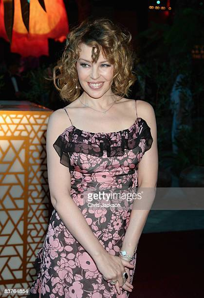 Singer Kylie Minogue attends the landmark Grand Opening of Atlantis The Palm Resort and the Palm Jumeirah on November 20 2008 in Dubai United Arab...
