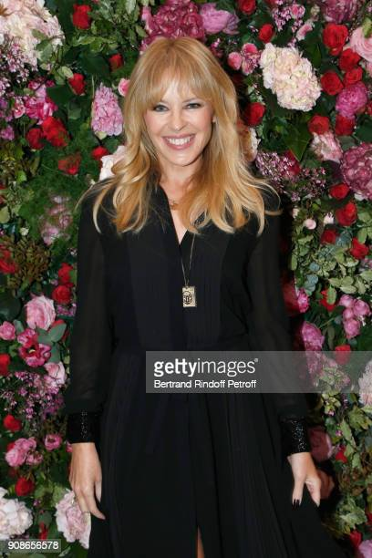 Singer Kylie Minogue attends the Schiaparelli Haute Couture Spring Summer 2018 show as part of Paris Fashion Week on January 22 2018 in Paris France