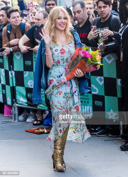 Singer Kylie Minogue is seen leaving AOL Build Studio on April 26, 2018 in New York City.