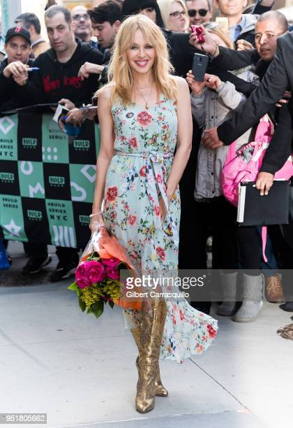 Singer Kylie Minogue is seen leaving AOL Build Studio on April 26 2018 in New York City