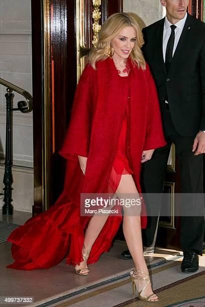 Singer Kylie Minogue is seen on December 3 2015 in Paris France