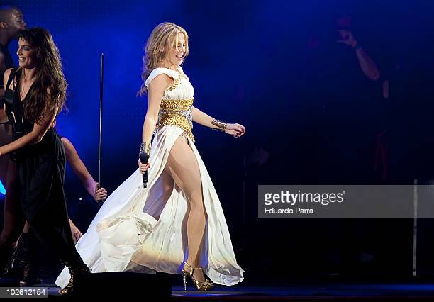 Singer Kylie Minogue performs at Gay Parade concert at Plaza de Espana on July 3 2010 in Madrid Spain