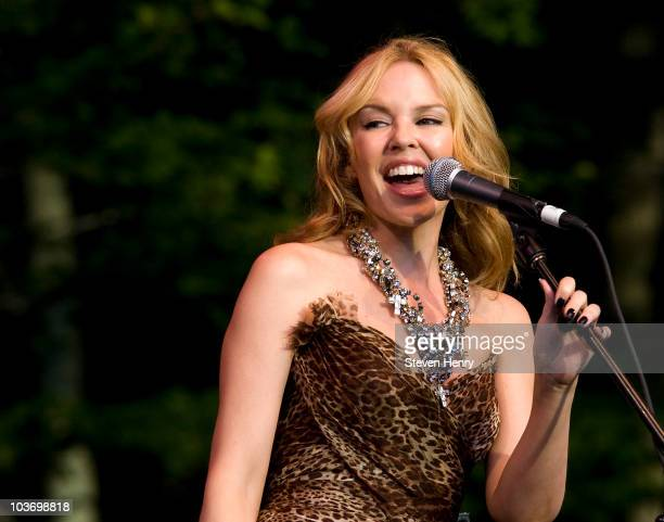 Singer Kylie Minogue performs at The Watermill Center on August 28, 2010 in Water Mill, New York.