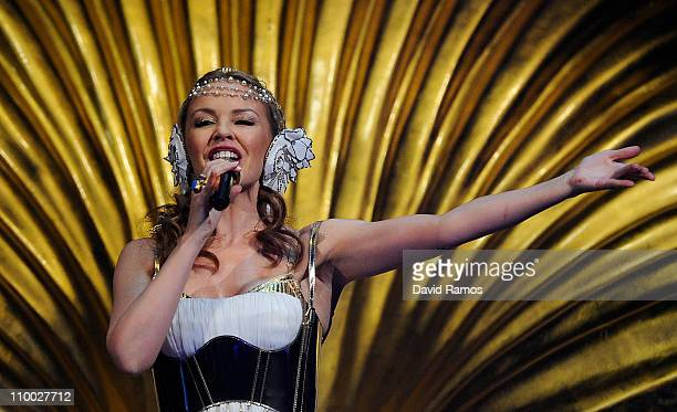 Singer Kylie Minogue performs on stage at the Palau Sant Jordi during Folies Tour 2011 on March 12 2011 in Barcelona Spain