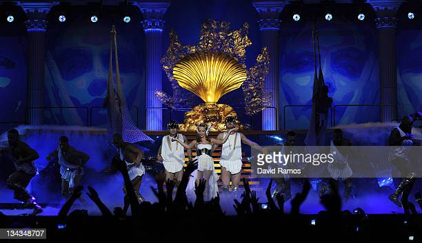Singer Kylie Minogue performs on stage at the Palau Sant Jordi during Folies Tour 2011 on March 12, 2011 in Barcelona, Spain.