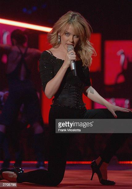 Singer Kylie Minogue performs on stage during the 2003 MTV Europe Music Awards at Ocean Terminal on November 6 2003 in Edinburgh Scotland