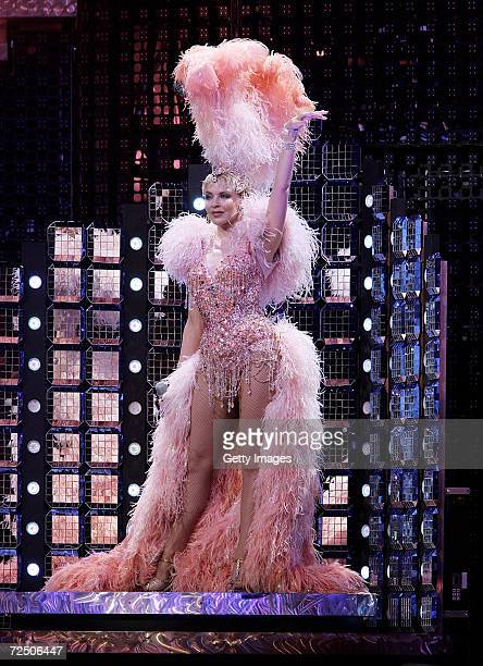 Singer Kylie Minogue performs on stage for the opening night of her Showgirl Homecoming Tour at the Sydney Entertainment Centre on November 11 2006...