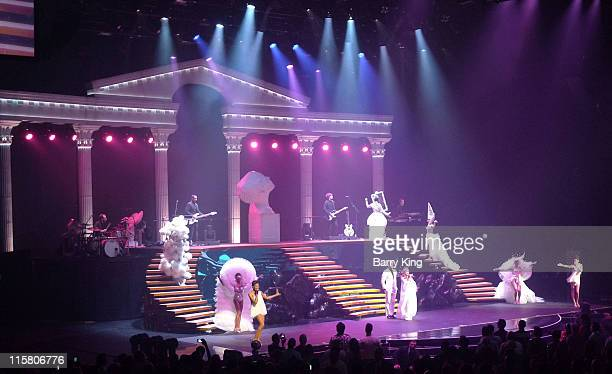 Singer Kylie Minogue performs onstage during her 'Aphrodite Live' Tour her second North American tour in support of the 'Aphrodite' album at The...
