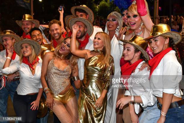 Singer Kylie Minogue poses after her performance at the annual Gay and Lesbian Mardi Gras parade in Sydney on March 2 2019 Thousands of revellers...