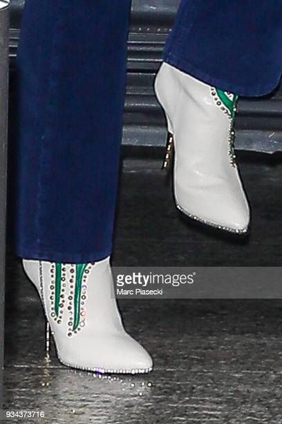Singer Kylie Minogue shoe detail is seen on March 19 2018 in Paris France