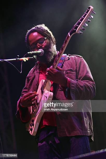 Singer Kyp Malone of TV on the Radio performs onstage at Carrie Stage during day 1 of the FYF Fest 2013 at Los Angeles State Historic Park on August...