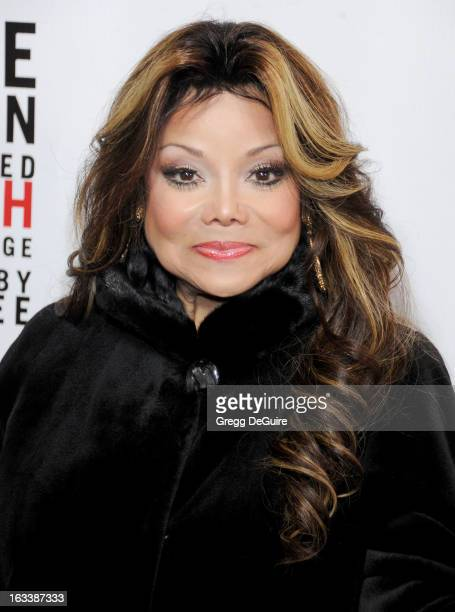 Singer La Toya Jackson arrives at the Los Angeles opening night of Mike Tyson Undisputed Truth at the Pantages Theatre on March 8 2013 in Hollywood...