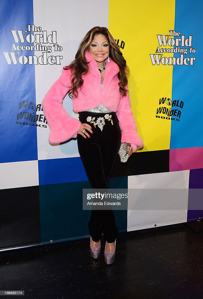 Singer La Toya Jackson arrives at the World Of Wonder book release party/birthday bash at The Globe Theatre at Universal Studios on December 13, 2012 in Universal City, California.