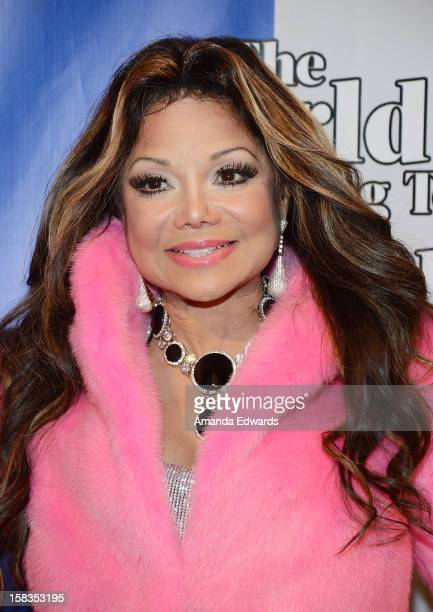 Singer La Toya Jackson arrives at the World Of Wonder book release party/birthday bash at The Globe Theatre at Universal Studios on December 13, 2012...