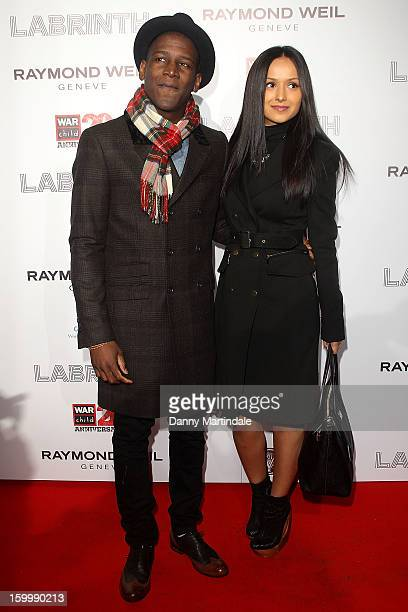 Singer Labyrinth and guest attend the Raymond Weil preBrit Awards dinner and 20th anniversary celebration of War Child at The Mosaica on January 24...
