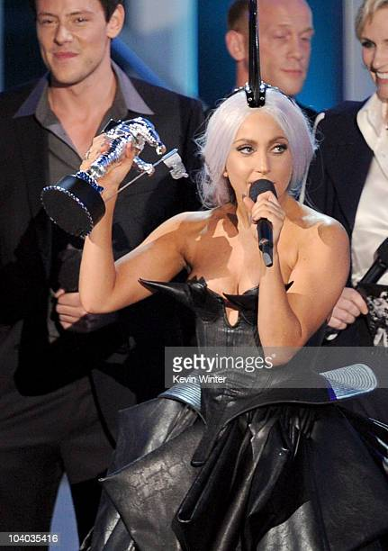 Singer Lady Gaga accepts the Best Pop Video award onstage during the 2010 MTV Video Music Awards at NOKIA Theatre LA LIVE on September 12 2010 in Los...