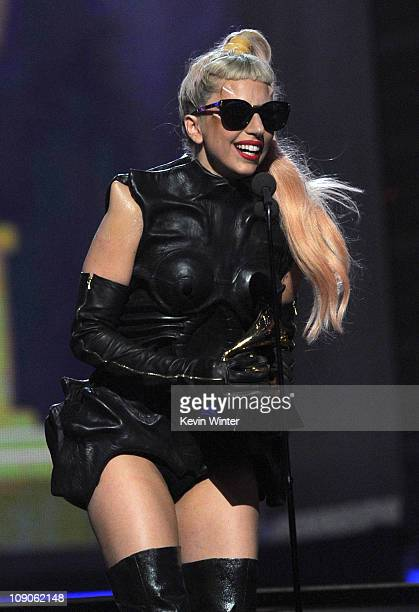 """Singer Lady Gaga accepts the Best Pop Vocal Album award for """"The Fame Monster"""" onstage during The 53rd Annual GRAMMY Awards held at Staples Center on..."""