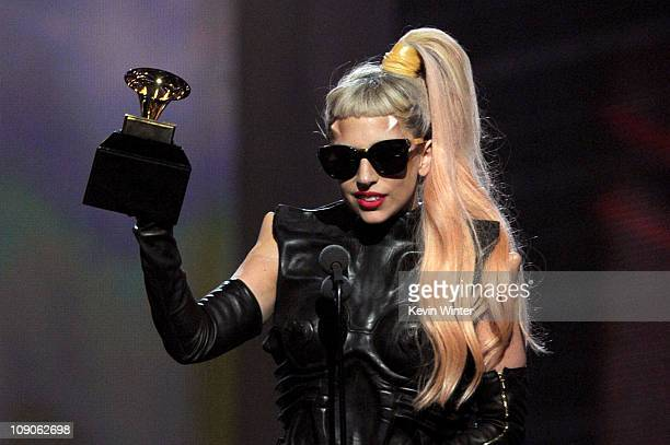 Singer Lady Gaga accepts the Best Pop Vocal Album award for The Fame Monster onstage during The 53rd Annual GRAMMY Awards held at Staples Center on...