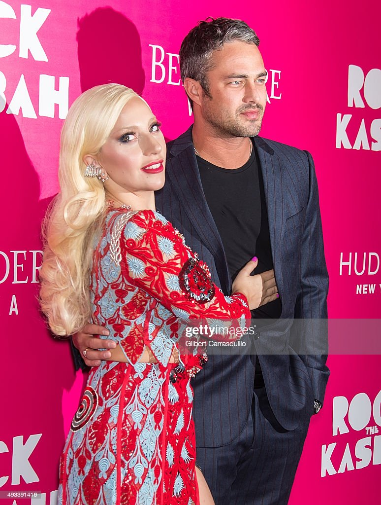 Singer Lady Gaga and actor Taylor Kinney attend the 'Rock The Kasbah' New York Premiere at AMC Loews Lincoln Square on October 19, 2015 in New York City.