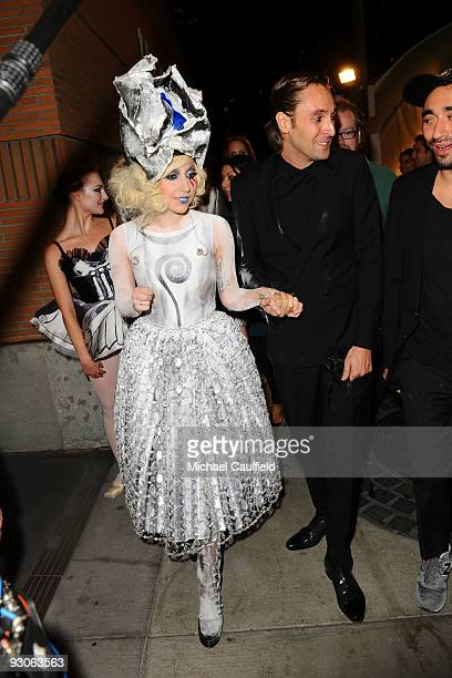 Singer Lady Gaga and artist Francesco Vezzoli attend the MOCA NEW 30th anniversary gala held at MOCA on November 14 2009 in Los Angeles California