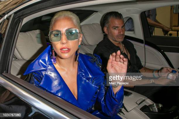 Singer Lady Gaga and Christian Carino are seen leaving their hotel on August 28 2018 in Paris France