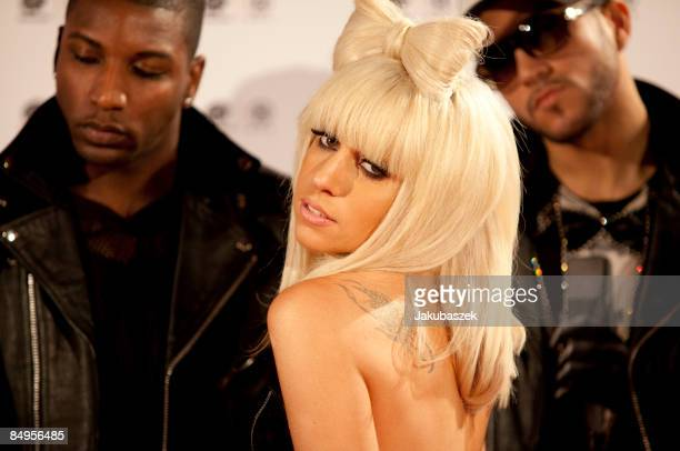 US singer Lady GaGa and dancers attend the music show The Dome 49 at the TUIArena on February 20 2009 in Hanover Germany The Dome 49 will be...