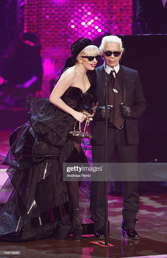Singer Lady Gaga and designer Karl Lagerfeld attend the Bambi Award 2011 show at the Rhein-Main-Hallen on November 10, 2011 in Wiesbaden, Germany.