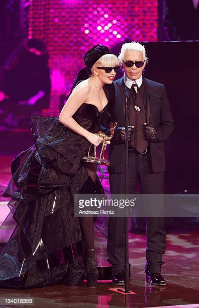 Singer Lady Gaga and designer Karl Lagerfeld attend the Bambi Award 2011 show at the RheinMainHallen on November 10 2011 in Wiesbaden Germany