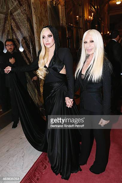 Singer Lady Gaga and Donnatella Versace pose after the Atelier Versace show as part of Paris Fashion Week Haute Couture Spring/Summer 2014 on January...