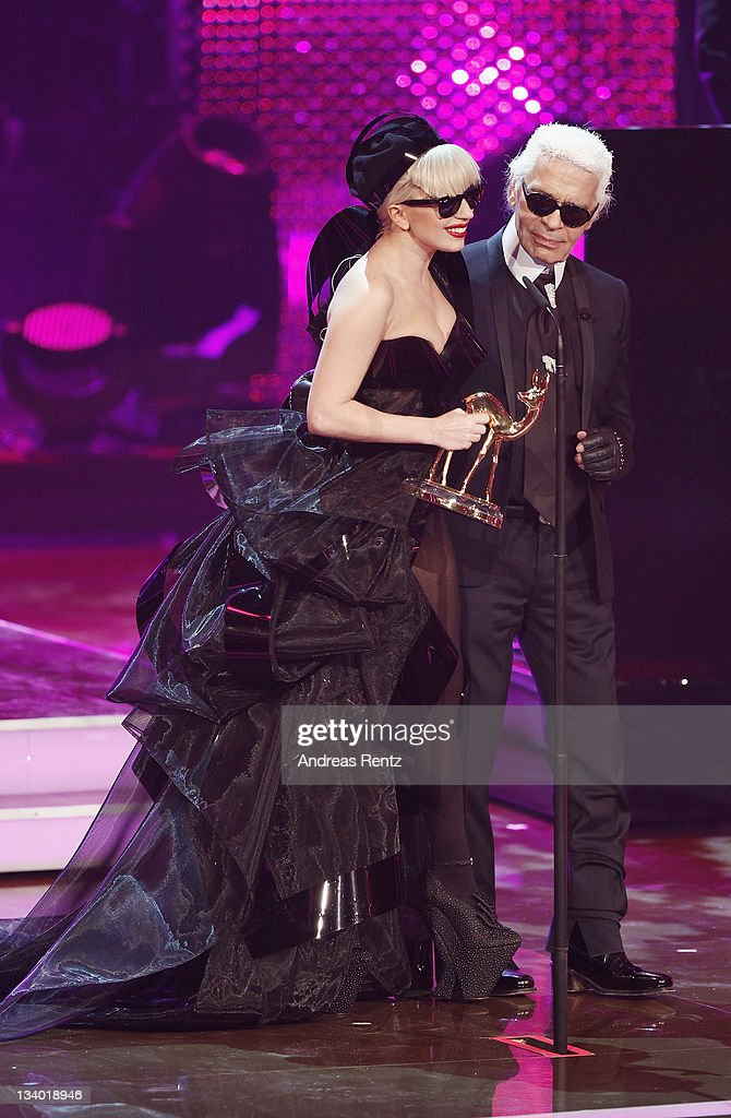 Singer Lady Gaga and Karl Lagerfeld attend the Bambi Award 2011 show at the Rhein-Main-Hallen on November 10, 2011 in Wiesbaden, Germany.