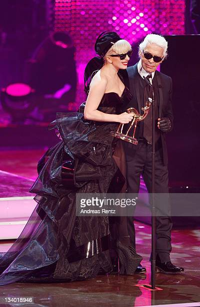 Singer Lady Gaga and Karl Lagerfeld attend the Bambi Award 2011 show at the RheinMainHallen on November 10 2011 in Wiesbaden Germany