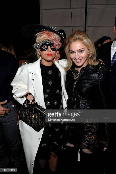 Singer Lady Gaga and Madonna attend the Marc Jacobs 2010 Spring Fashion Show at the NY State Armory on September 14 2009 in New York City