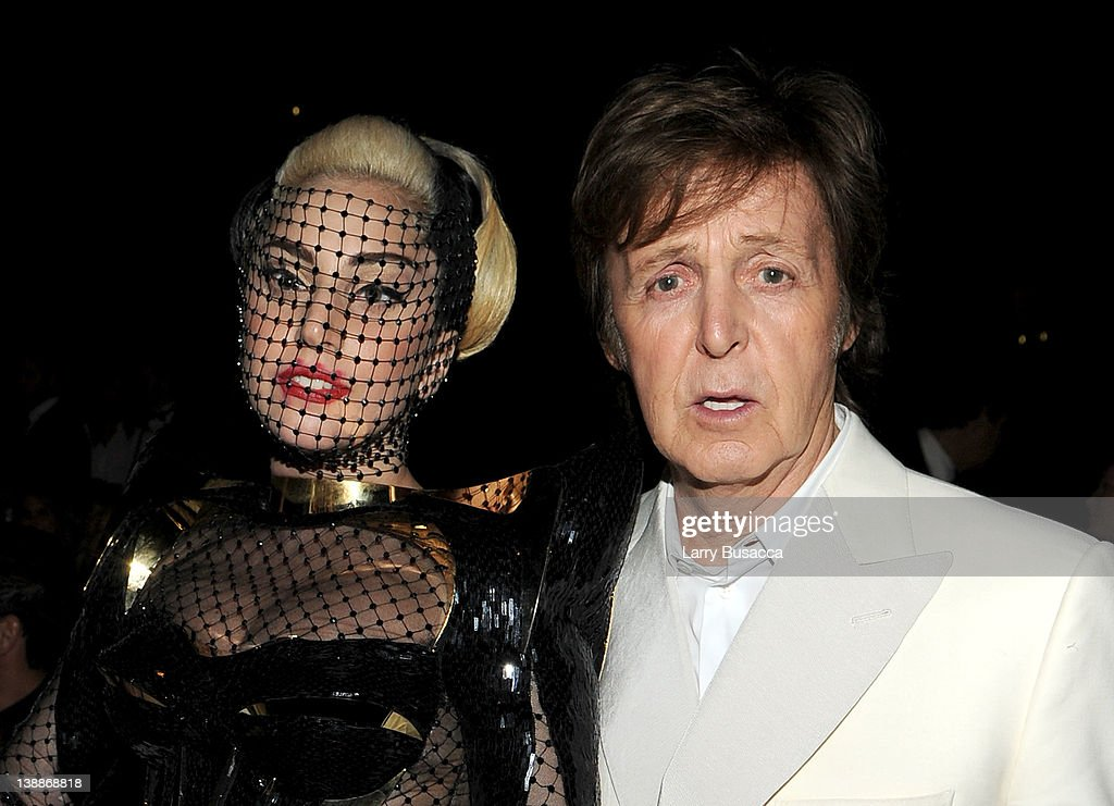 Singer Lady Gaga (L) and musician Paul McCartney attend the 54th Annual GRAMMY Awards held at Staples Center on February 12, 2012 in Los Angeles, California.