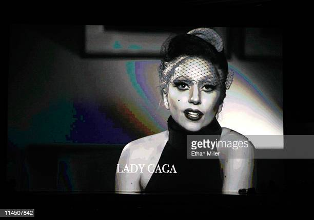 Singer Lady Gaga appears in a video introducing a performance by Beyonce Knowles during the 2011 Billboard Music Awards at the MGM Grand Garden Arena...