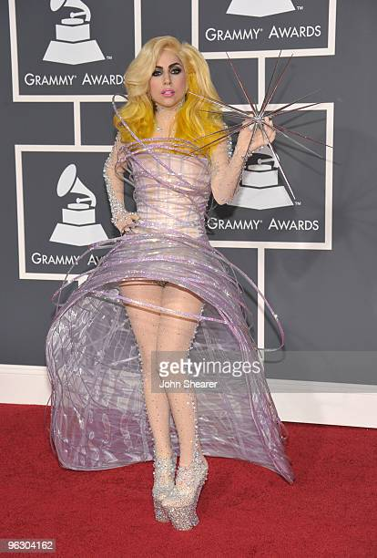 Singer Lady Gaga arrives at the 52nd Annual GRAMMY Awards held at Staples Center on January 31 2010 in Los Angeles California