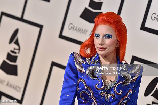 Singer Lady Gaga arrives at The 58th GRAMMY Awards at Staples Center on February 15 2016 in Los Angeles California