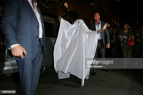 Singer Lady Gaga arrives at the 'Bristol' hotel with a Halloween costume on November 1 2014 in Paris France
