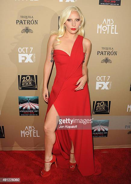 Singer Lady Gaga arrives at the Premiere Screening Of FX's 'American Horror Story Hotel' at Regal Cinemas LA Live on October 3 2015 in Los Angeles...