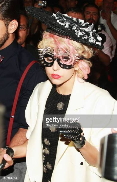 Singer Lady Gaga attends Marc Jacobs Spring 2010 fashion show at The Armory on September 14 2009 in New York New York
