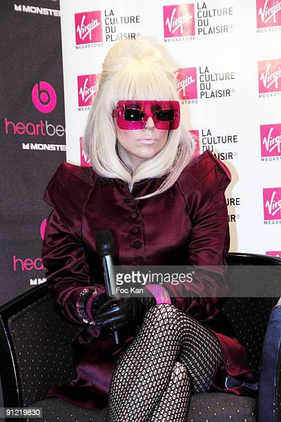 Singer Lady Gaga attends the Lady Gaga Monster Cable Show Case at the Virgin Store Carrousel du Louvre 9, 2009 in Paris, France.