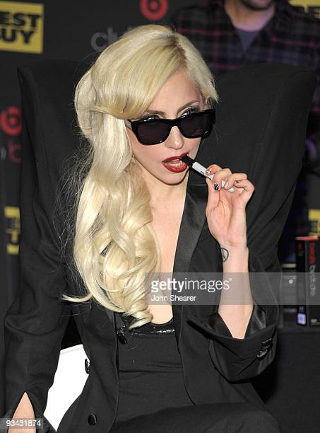 Singer Lady Gaga attends the launch party for Club Beats presented by Best Buy Monster Beats By Dr Dre at Best Buy on November 23 2009 in Los Angeles...
