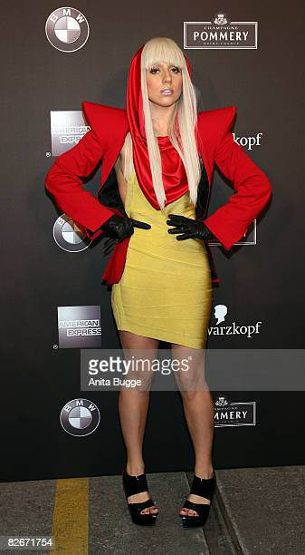 Singer Lady Gaga attends the Mercedes Benz Fashion week Spring/Summer 2009 readytowear fashion show of Michalsky on July 18 2008 in Berlin Germany