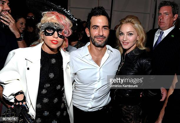 Singer Lady Gaga designer Marc Jacobs and Madonna attend the Marc Jacobs 2010 Spring Fashion Show at the NY State Armory on September 14 2009 in New...